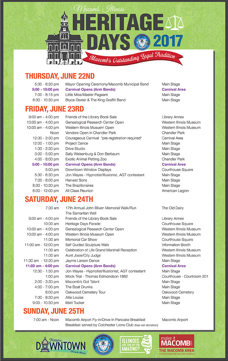 Heritage Days 2017 Event Schedule